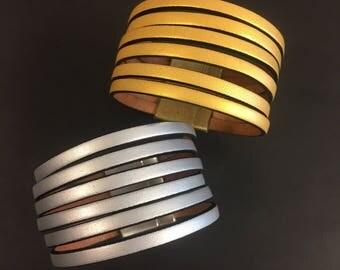 Leather Wrap Bracelet - Metallic Leather Slitted Cuff Bracelet - Magnetic Closure Bracelet - Gold Bracelet - Silver Bracelet