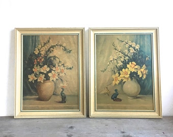 RARE Countess Zichy Two Floral Art Prints Signed and Framed in Vintage Frames, 1930's  Daffodils Jonquils Yellow
