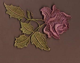 Hand Dyed Venise Lace Petite Rose Applique  Vintage Aged Rose