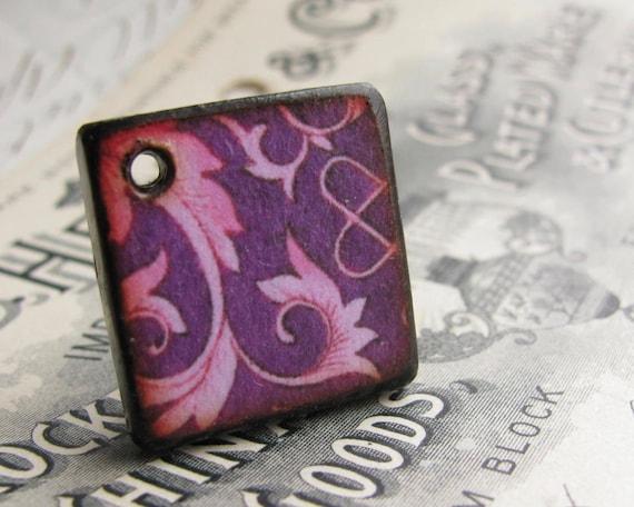 Purple pink swirl, 18mm wood tile, square pendant disk, handmade (1 pendant) light weight, burned edges, antiqued style, diamond shape
