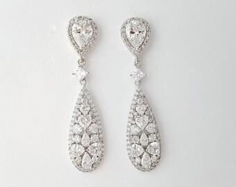 Crystal Drop Bridal Earrings Wedding Jewelry CZ Wedding Earrings Teardrop Bridal Earrings Wedding Accessories, Kaylee Earrings