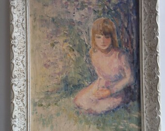 "Retro Painting Original Mid Century Modern Abstract Oil Painting , 1967  ""Girl Under Lilacs "" Signed Helen Reed"