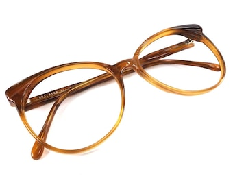 vintage 80s opaque brown cat eye frames deadstock round oversize plastic eyeglasses french designer retro eye glasses eyewear smart nos 196