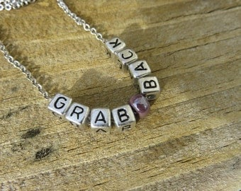 GRAB BACK Necklace with purple bead