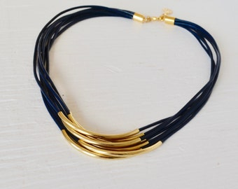 Navy Leather Multi Cord Necklace with Gold Tubes :  By BALOOS STUDIO
