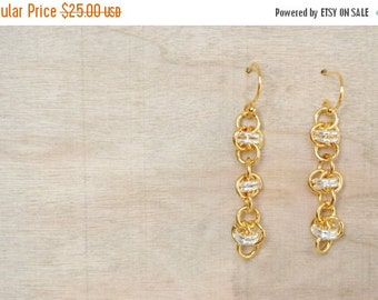 25% OFF - Chainmaille Earrings - Two Tone Earring - Gold and SilverDangle Earrings - Barrel Weave - Organic Design - By BALOOS
