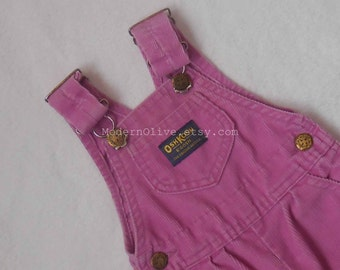 6/9 Months Osh Kosh B'Gosh Rare Vintage Lilac Corduroy Overalls Made in the USA  (with Leg Snaps for Diaper Changes) Baby HTF