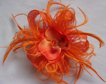 Bright Orange Sinamay Loop Feather & Orchid Flower Mini Fascinator Hair Clip Wedding Headpiece- Ready Made