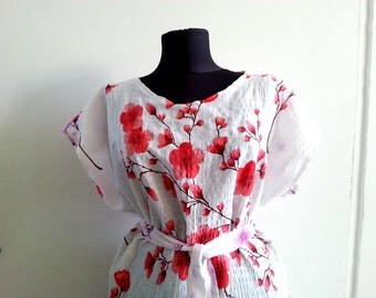White Floral Sundress, Vintage inspired Dress two pockets and belt