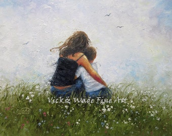 Mother and Son Art PRINT, mom, boy, brunette mother, mom hugging son, loving mother, mother's day gift, mum wall art,  Vickie Wade Art