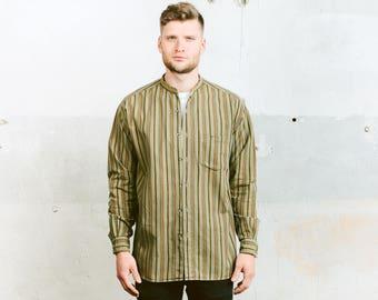 Minimalist Collarless Shirt . Striped Work Shirt Band Collar Button Down Shirt Hippie Minimalist Green 90s Shirt  . size Large L