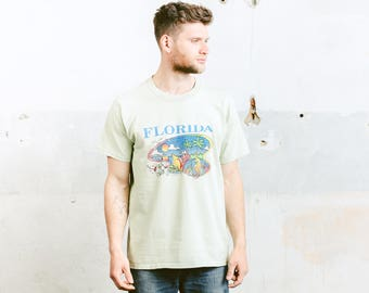 Graphic Print T-shirt . Vintage 90s Men's Shirt Florida Tee Oversized T-Shirt Surfer Shirt . size Large