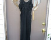 Old Hollywood  Black w flower  Lace     Great Gatsby  Roaring 20's  nightgown/  lounger