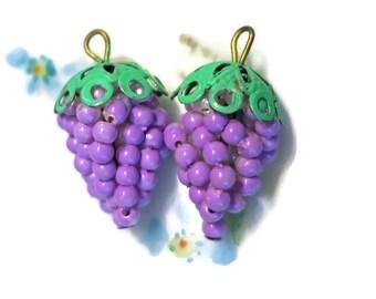 Vintage Grape Cluster Pendant Pearl Filigree Drops Dangles Charms Purple Shabby Chic Cottage. #1335Q