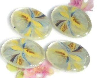 Vintage18x13mm Oval Cabochons Floral White Art Artsy Blue Yellow NOS. #1090D