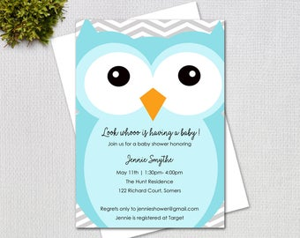 Owl Baby Shower Invitation, Big bLUE Owl Printable Baby Shower Invitation, Printable Digital File, 3225