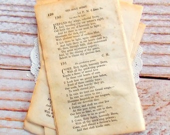 Old Hymnal Pages / 10 Pieces / Vintage Ephemera / 1800's