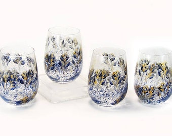 Hand Painted Stemless Wine Glasses - Abstract Midnight Blue and Gold Roses Set of 4 - Handpainted Beverage Glasses