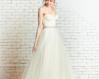 "Tulle overlay bridal skirt, the ""Felicity"" CUT TO ORDER"