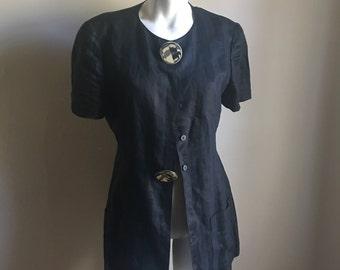 Krizia Black Linen Jacket • Retro Designer Avani Garde Jacket