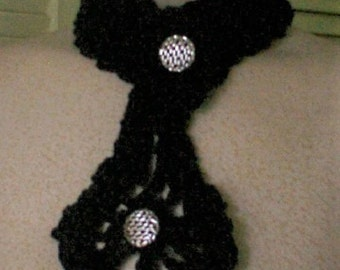 Collar choker black necktie crocheted neck warmer Geechlark c92