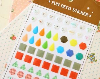 Brown Fun Deco Puffy scrapbooking diary stickers