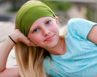 Girl's Green Headband, Kid's Headwrap, Sports Head Wrap, Girl's Athletic Headband, Soccer Headband, Basketball Headband (#1004) S M L X