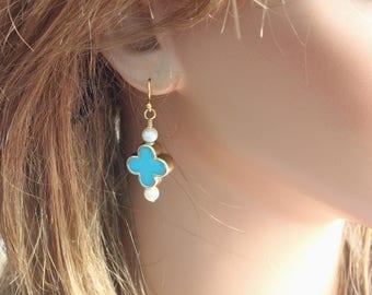 Turquoise Blue Earrings, Casual Earrings, Quatrefoil Earrings, Blue Flower Earrings, Lucky Flower, Four Leaf Flower Earrings, Blue Earrings
