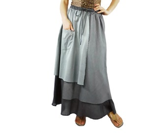 3 Tone Skirt...Triple Layer Grey/ Dark Grey/ Charcoal Light Cotton Lawn Skirt With 1 Patched Pocket - Size 10 To Size 18