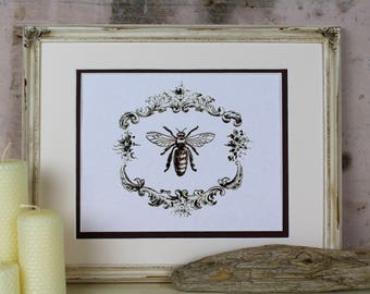 Bee Illustration Digital Art Instant Download Vintage Cottage French Honey Honeybee Printable Wall Home Decor Scrapbooking Greeting Card