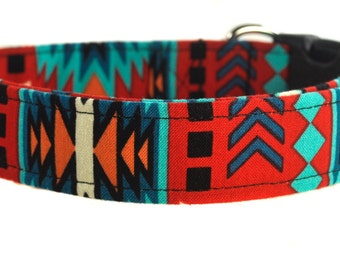 Multicolored Dog Collar - The Tribal in Red