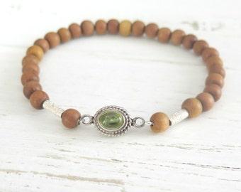 Bohemian Peridot and Sandalwood Stacking Bracelet / Boho Beaded Bracelet /Hill Tribe Silver / August Birthstone /Green Peridot /Boho Jewelry