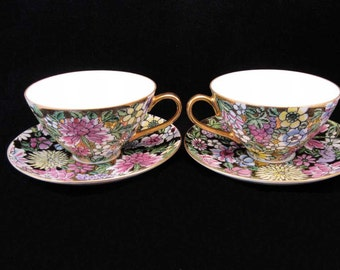Dorothy C. Thorpe California Mille Fleur Tea Cups & Saucers( 2 sets)Gold~Flowers