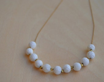Black Friday - Carved White Sea Shell and Gold Necklace
