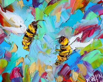 Bee Happy painting original oil 6x6 palette knife impressionism on canvas fine art by Karen Tarlton