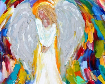 Original oil painting Angel Blessings abstract impressionism fine art impasto on canvas by Karen Tarlton