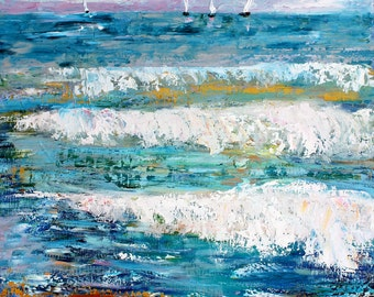 Oil painting Ocean Waves and Sailboats original palette knife impressionism on canvas 24x20 fine art by Karen Tarlton