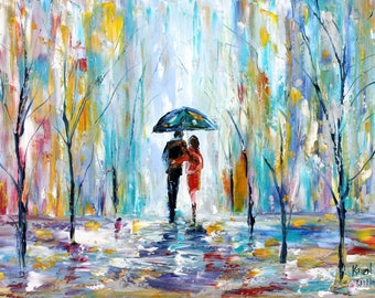 Spring Rain Romance painting original oil on canvas abstract palette knife 12x16 impressionism fine art by Karen Tarlton