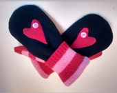 Kids mittens, hearts, pink, red, striped, recycled sweater mittens, lined mittens, warm mittens