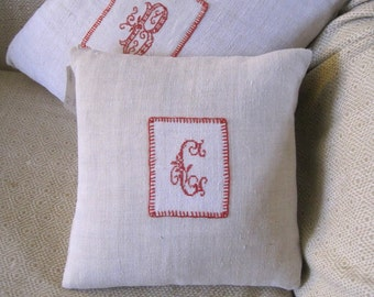 """Antique hand stitched """"C"""" monogram.  Small cushion made with antique French hemp, throw pillow, gift"""