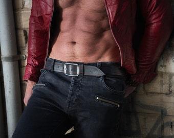 Black Belt, Men's Belt, Leather Belt, Black & Red Belt, Mens Leather Accessories, Mens Handmade Leather, Black Leather Belt, Fashion Leather