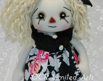 Primitive Folk Art  Raggedy Annie doll Suzie ooak cute Handmade collectible MOOD fabrics Spring button eyes rag ocr