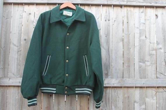 vintage LL Bean wool varsity jacket, men's large, made in USA