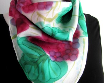Floral Silk Scarf - Hand Painted Square Neckerchief - Pink and Green Silk Bandana Scarf