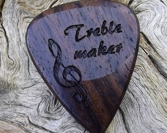 Wood Guitar Pick - Premium Quality - Handmade With East Indian Rosewood - Laser Engraved Both Sides - Actual Pick Shown - Artisan Wood Pick