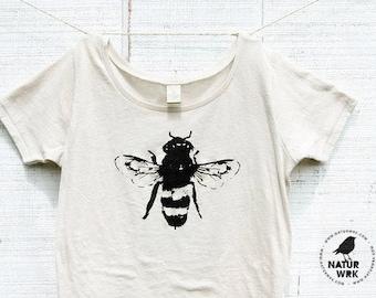 Bee Shirt -Womens - Bamboo - Organic Cotton -  Honey Bee - Organic shirt - Small, Medium, Large, XL, 2XL- Clothing -Tshirt