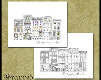 Brooklyn Brownstones Xmas Cards / Brooklyn Note Cards / NYC Stationery / New York City Row House Neighborhood / Set of 10 / Christmas Cards