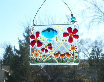 Blue Bird of Happiness in a Field of Flowers // Fused GLass // Suncatcher // Ornament // Tree // Summer // Spring //Colorful//Whimsical//Fun