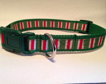 EXTRA LARGE green candy stripes holiday dog collar
