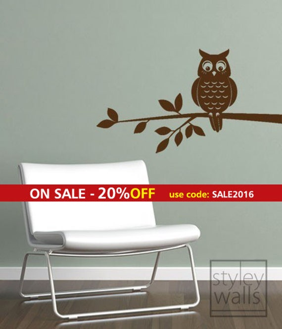 Owl Wall Decal, Owl Wall Sticker, Owl on a Branch Vinyl Wall Decal, Home Decor Kids Room Baby Nursery Wall Decal, Boy or Girl Room Decal